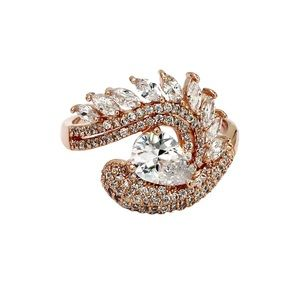 Rose gold sparkling luxury crystal ring
